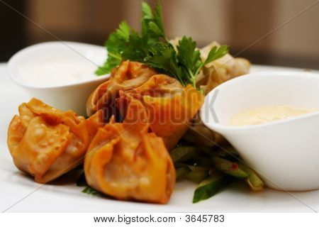 Steamed And Deep Fried Duckleg Wontons