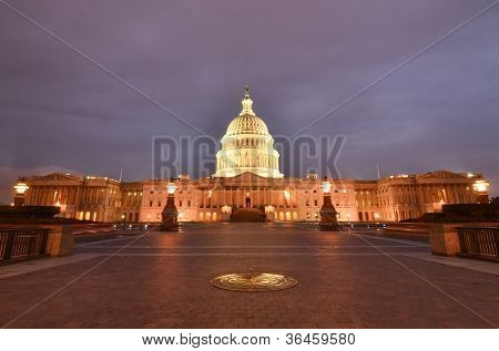 Washington DC, United States Capitol Building east facade at night