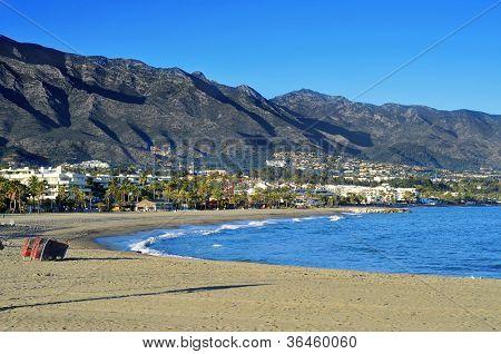 view of Rio Verde Beach in Marbella, Spain