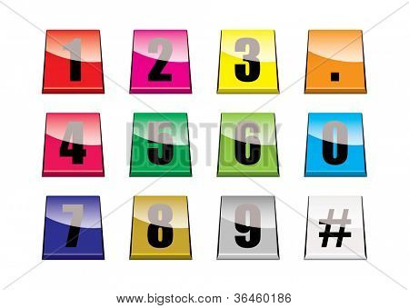 Collection of brightly coloured number tabs with light reflection