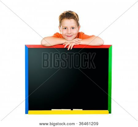 little boy with a board. white background