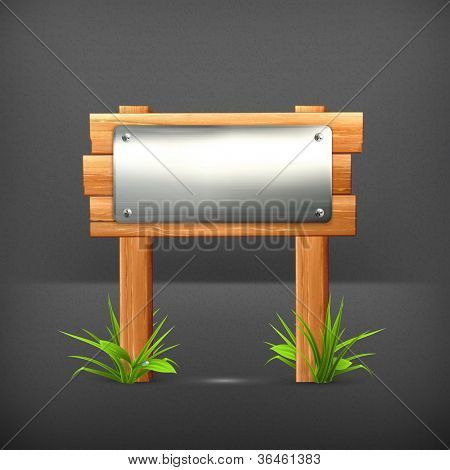 Signboard metal and wood, vector