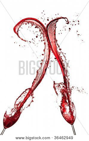 Red wine splashing out of glasses, isolated on white background