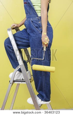 Low section of woman in overalls holding paint roller climbing on ladder