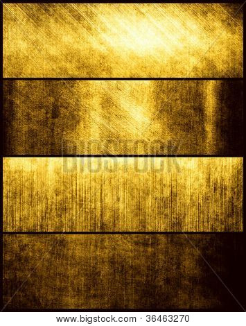 Banners set of gold metal texture
