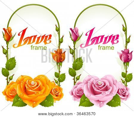 Vector rose frames. Wedding, Birthday or Valentine day vertical banners with yellow and pink flowers isolated on white background