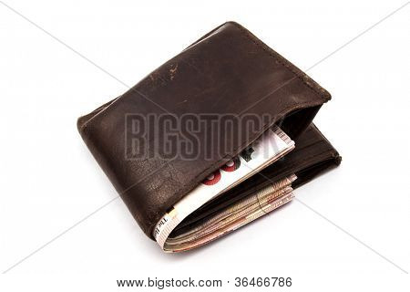 Brown wallet with HK Dollars isolated on white