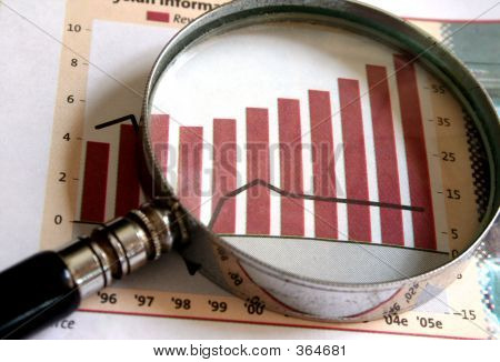 Picture or Photo of A magnifying glass focusing on a chart in the business section of the newspaper.