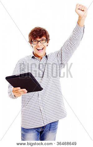 Winning latin college student with tablet PC. Isolated on white background, mask included