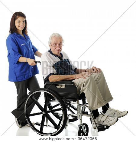 A pretty teen volunteer pushing an elderly man in his wheelchair.  On a white background.