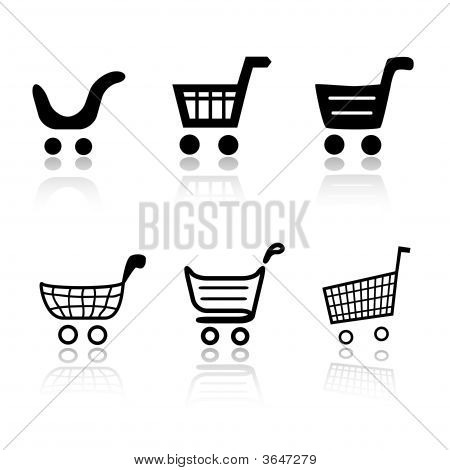 Set Of 6 Shopping Cart Icons