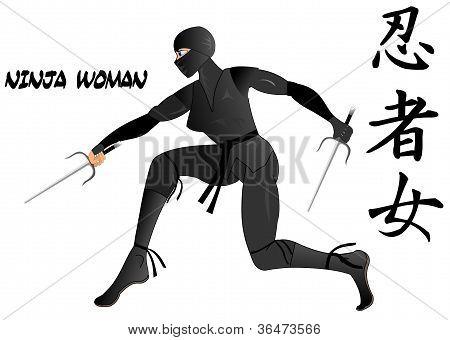 Ninja woman armed