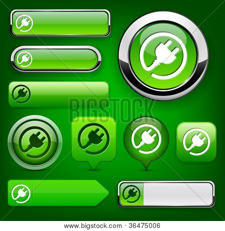 Plug web green buttons for website or app. Vector eps10.