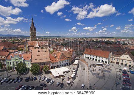 Square Historical Arhitecture In Sibiu Transylvania Romania