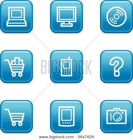 Electronics Web Icons, Blue Glossy Buttons Series