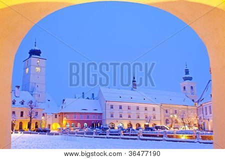 Winter In Old Town Center Sibiu