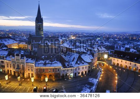 Sibiu In Winter By Christmas