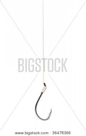 Single fish hook isolated on white background