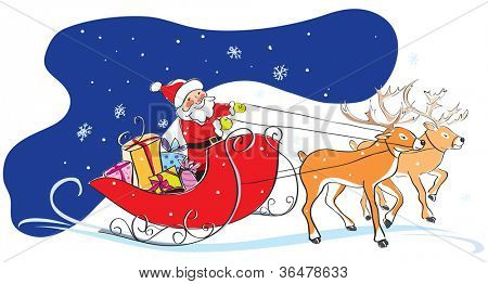 Santa Claus in a sledge with Christmas gifts and two deers. Sky, snowflakes, funny style. Vector illustration