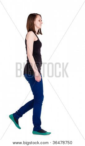 back view of walking woman . going brunette girl in motion. Rear view people collection.  backside view of person. Isolated over white background.