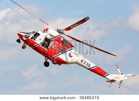 PILSEN, CZECH REPUBLIC - AUGUST 25: Modern polish rescue helicopter W-3A Sokol, Pilsen Aeronautical Days on August 25, 2012 in Pilsen, Czech Republic.