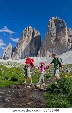 "Family on mountain hike - Tre Cime di Lavaredo "" Drei Zinnen "" - Dolomite - Italy"
