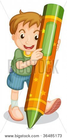 Illustration of boy with large crayon