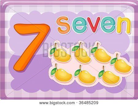 Illustrierte-Flash-Karte zeigt die Zahl 7