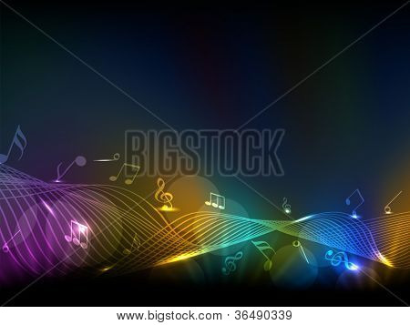 Abstract musical notes colorful wave background. EPS 10.