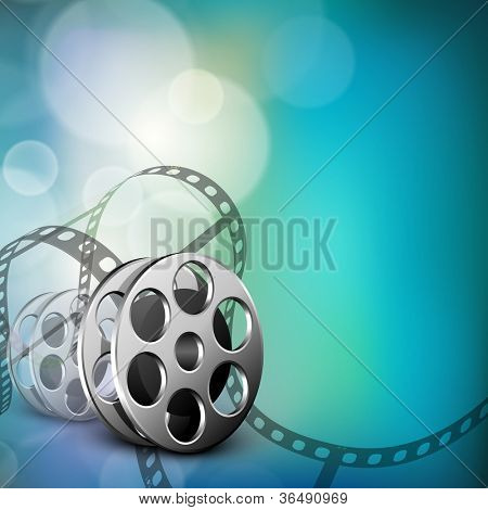 Film stripe or film reel on shiny movie background. EPS 10