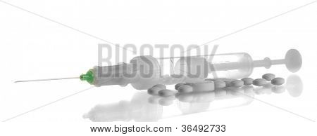 syringe monovet and pills isolated on white