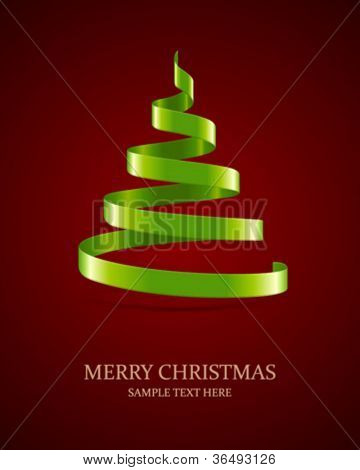 Christmas tree from ribbon vector background. Eps 10.