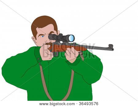 hunter aiming with sniper rifle