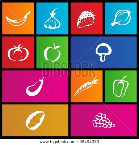 vector illustration of metro style fruit and vegetable icons