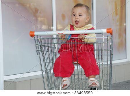 baby in supermarket