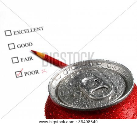 Fresh can of soda with water drops and red color on white background with survey