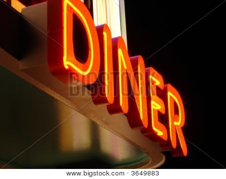 Angled Neon Diner Sign