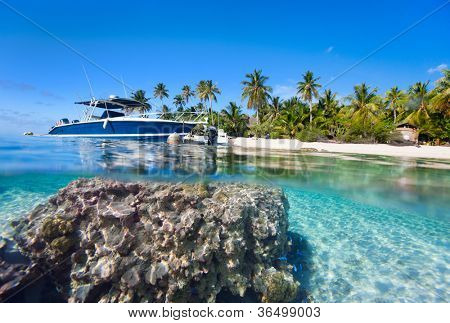 Beautiful above and underwater landscape of a small island in French Polynesia