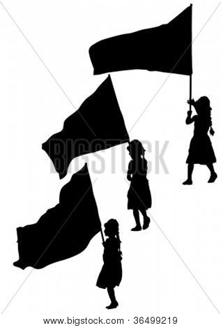 Vector drawing young girl and flags