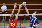 KAPOSVAR, HUNGARY - APRIL 22: Petra Horvath (blue 4) in action at the Hungarian I. League volleyball