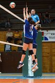 KAPOSVAR, HUNGARY - APRIL 22: Unidentified payers in action at the Hungarian I. League volleyball ga