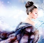 stock photo of mink  - Winter Girl in Luxury Fur Coat - JPG