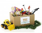 picture of dozer  - A box with a sign for Christmas toy donations - JPG