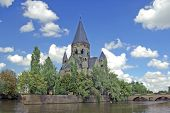 foto of moselle  - Church in Metz Lorraine France on Moselle river - JPG