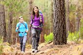 Hikers in forest. Couple hiking in fall forest. Asian woman hiker in front smiling happy. Photo from