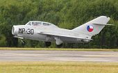 PILSEN, CZECH REPUBLIC - AUGUST 26: Famous Soviet fighter jet Mig-15UTI with Czech Air Force marking