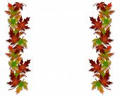 foto of fall leaves  - Illustration composition of colorful fall leaves for Thanksgiving invitation border or background with copy space - JPG