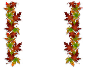 stock photo of fall leaves  - Illustration composition of colorful fall leaves for Thanksgiving invitation border or background with copy space - JPG