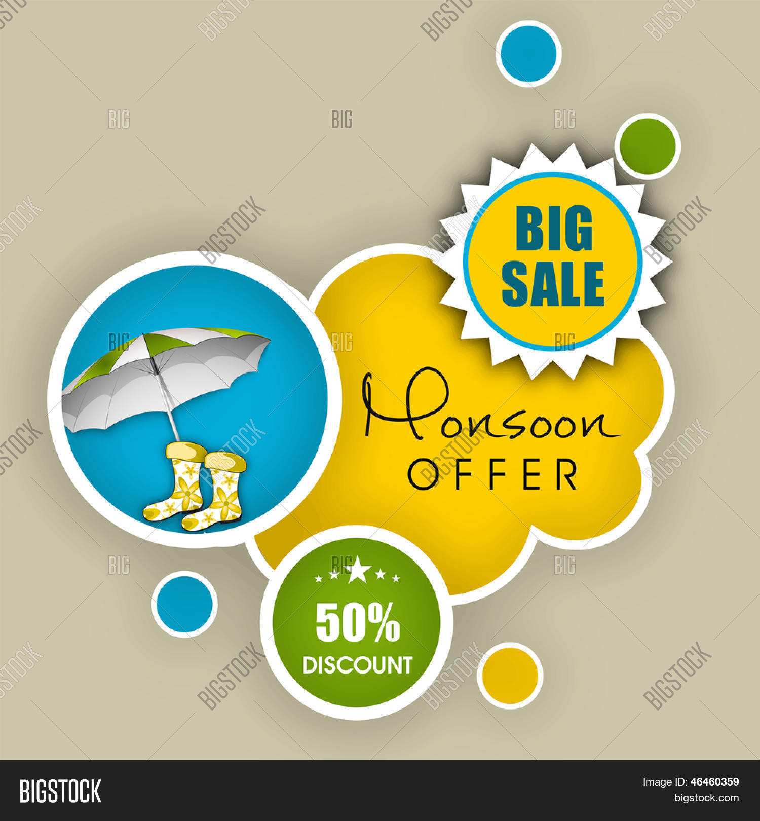 monsoon offer and banner flyer or poster stock vector monsoon offer and banner flyer or poster