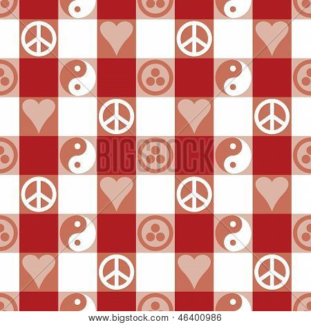 Peace Plaid in Red